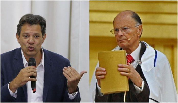 O então candidato a presidente do Brasil em 2018, Fernando Haddad e o bispo e líder da Igreja Universal, Edir Macedo (Foto: Arte/Pleno.News)