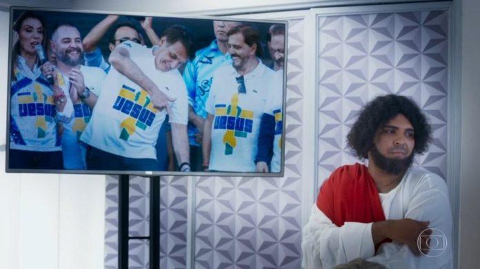 No Zorra, Jesus Cristo (Paulo Vieira) critica Marcha para Jesus com o presidente Jair Bolsonaro Imagem: Reprodução/TV Globo