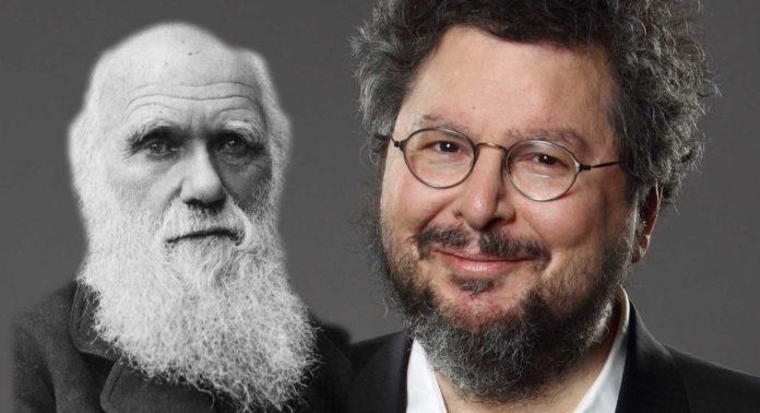 Foto montagem com Charles Darwin e o cientista David Gelernter