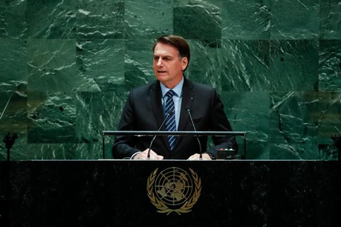 O presidente Jair Bolsonaro (PSL) durante seu discurso na Assembleia Geral da ONU