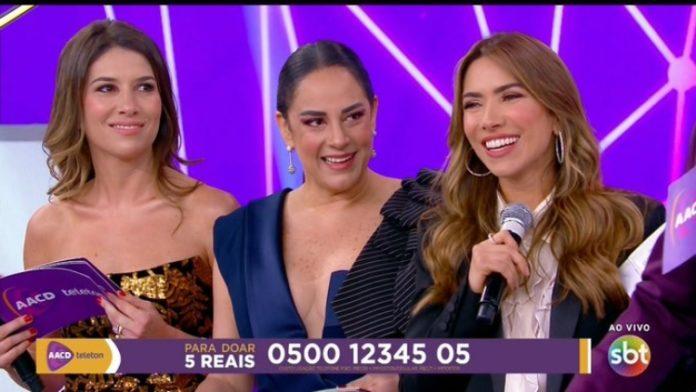 As irmãs Rebeca, Silvia e Patrícia Abravanel substituíram o pai, Silvio Santos, no Teleton 2019.