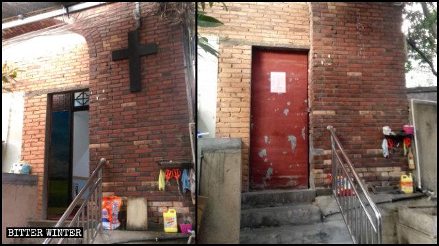 A cruz de um local de reunião de Kangshanli foi retirada.