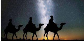 Os reis magos em busca do menino Jesus (Ilustração)