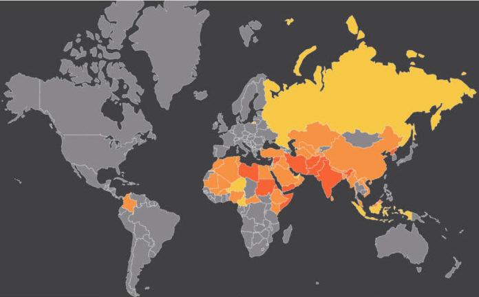 Mapa da lista mundial da perseguição 2020
