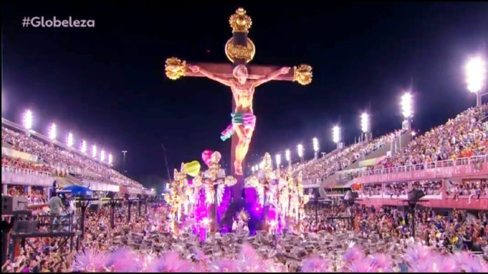 Desfile da escola de samba Mangueira em 2020