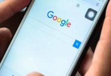 Página de pesquisa do Google em um smartphone