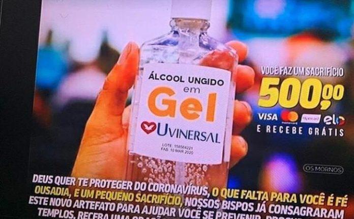 Fake News: Igreja Universal não está vendendo 'álcool gel ungido' e copo d'água contra coronavírus