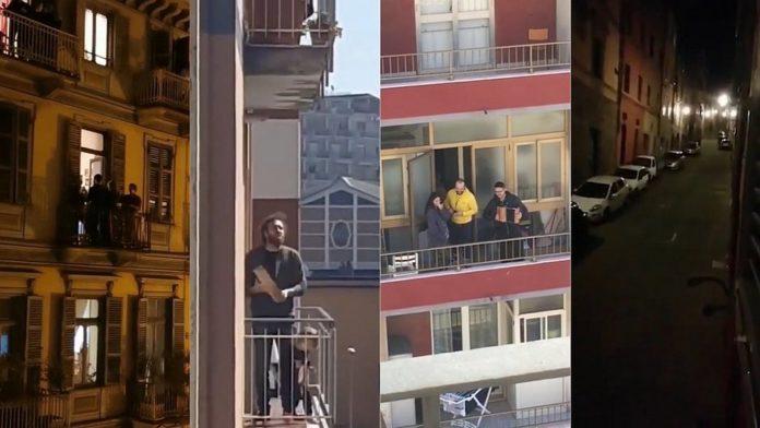 Italianos cantam nas janelas de seus apartamentos durante o período de quarentena por causa do coronavírus.