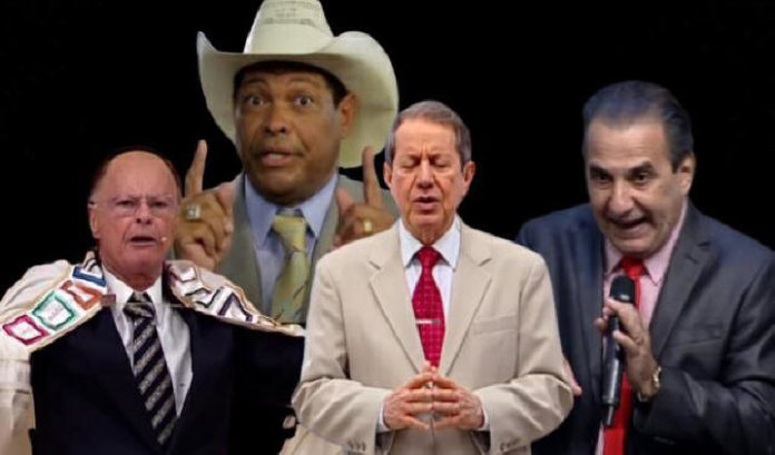 Edir Macedo, R. R. Soares, Valdemiro Santiago e Silas Malafaia, são líderes de igrejas neopentecostais