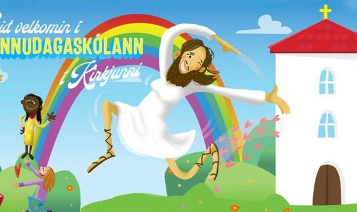 Bem-vindo à escola dominical em sua igreja, diz o texto do anúncio. (Foto: Igreja Nacional da Islândia)