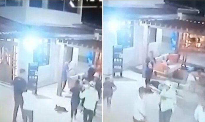 Vídeo mostra o momento em que ladrões rendem pessoas durante batismo e depois abandonam local. (Foto: Reprodução / Instagram)