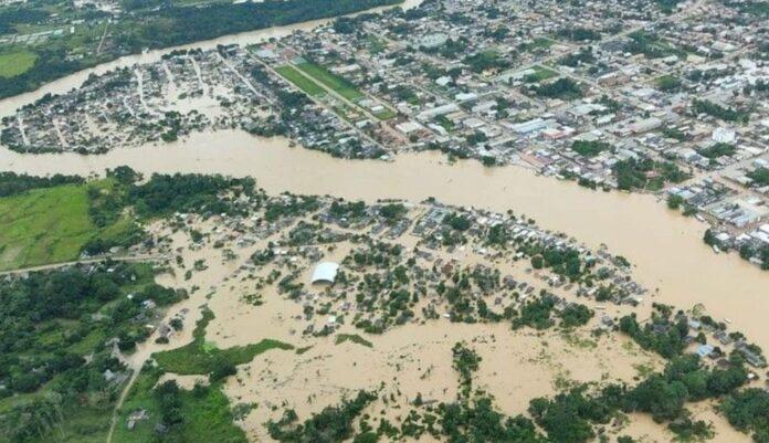 Cidades no Acre estão alagadas - Foto: Marcos Vicentti / Secom (20/2/2021)