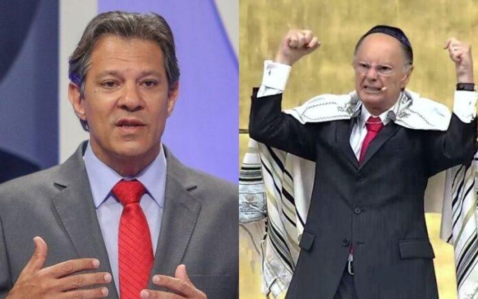 O então candidato a presidente do Brasil em 2018, Fernando Haddad e o bispo e líder da Igreja Universal, Edir Macedo (Foto: Arte/Folha Gospel)