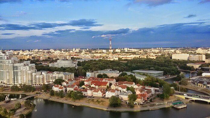 Vista aérea de Misk, capital da Bielorrússia