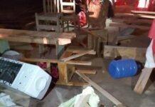 Igreja foi invadida durante culto e destruída por 6 homens. (Foto: Reprodução / Juína News)