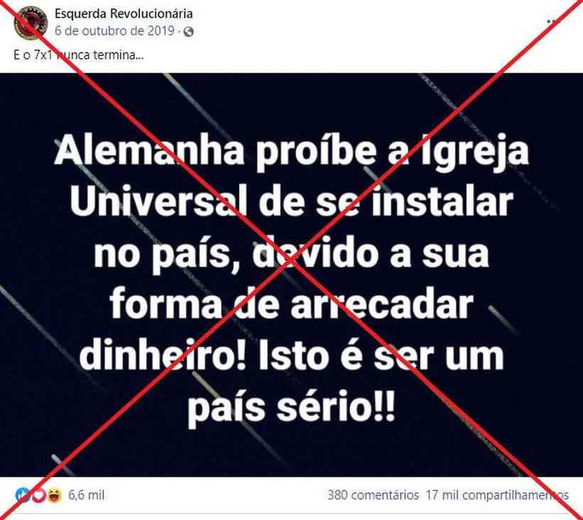 Publicação falsa sobre a Igreja Universal na Alemanha (Captura de tela feita em 22 de abril de 2021 de uma publicação no Facebook)