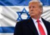 Donald Trump e a bandeira de Israel (Foto: Montagem/Folha Gospel)