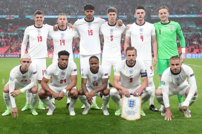 Seleção da Inglaterra na Eurocopa 2020, realizada entre junho e julho de 2021, por causa da pandemia da Covid-19