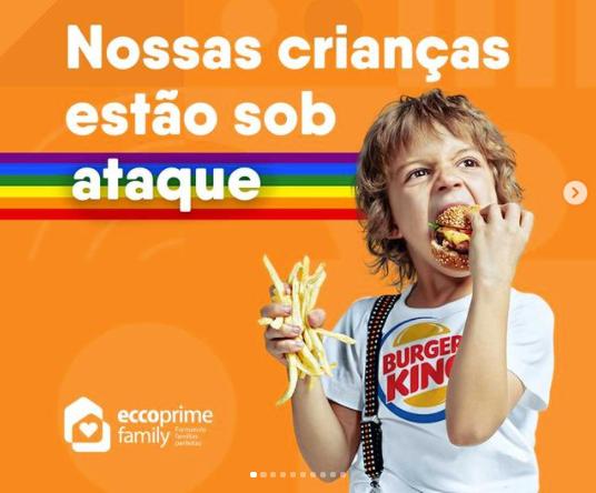 Publicação da Escola Eccoprime, em PE, contra a campanha da Burger King a favor do movimento LGBT envolvendo crianças (Foto: Instagram)