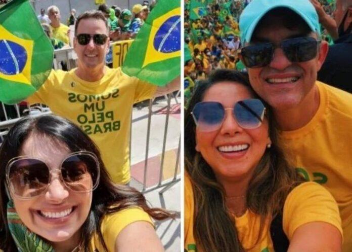Cantoras Eyshila e Jozyanne durante atos de 7 de setembro a favor de Bolsonaro
