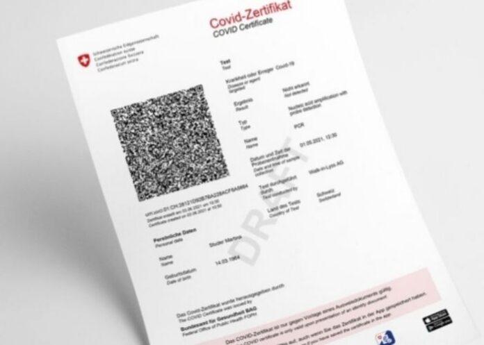 Cartão de vacinação da Covid-19 na Suíça